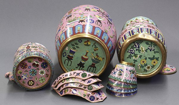 Group of Chinese Pink Enamel Items - 7