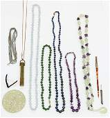 Collection of gem yellow gold jewelry items