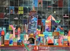 Painting Luis Cruz Azaceta City Lights