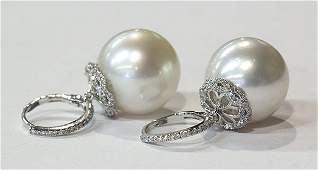 Pair of South Sea cultured pearl diamond white gold