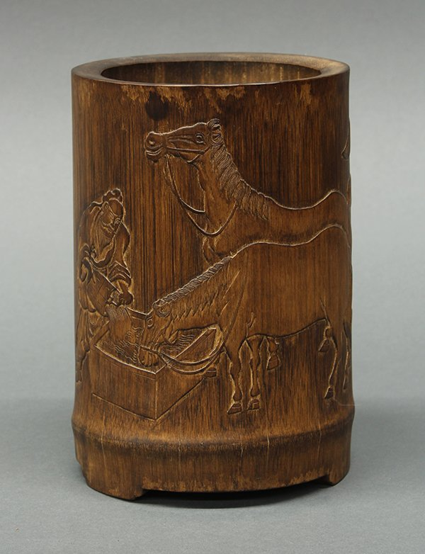 Chinese Bamboo Brush Pot, Horse