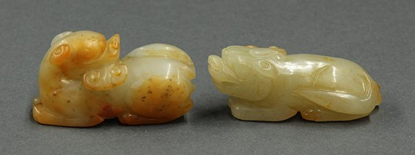 Two Chinese Jade Zoomorphs