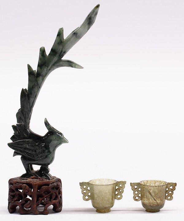 Three Chinese Jade Phoenix and Cups