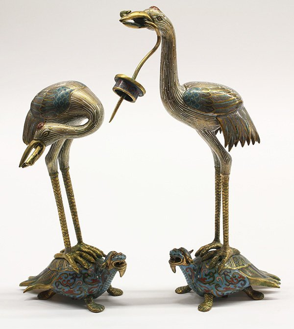 Chinese Cloisonne Crane Form Candle Prickets