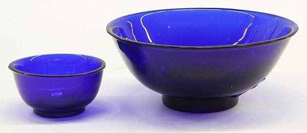 Chinese Blue Peking Glass Bowls, 19c