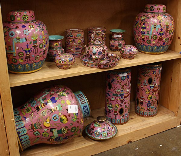 Chinese Pink Cloisonne Enamel Items