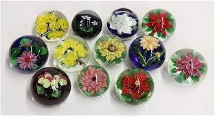 Lundberg Studios floral art glass paperweights