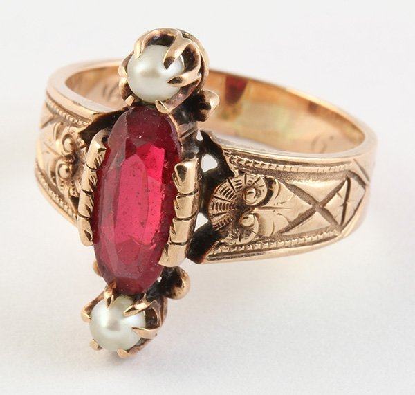 Victorian doublet cultured pearl rose gold ring