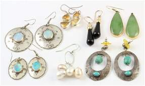 Collection of gem silver and gold earrings