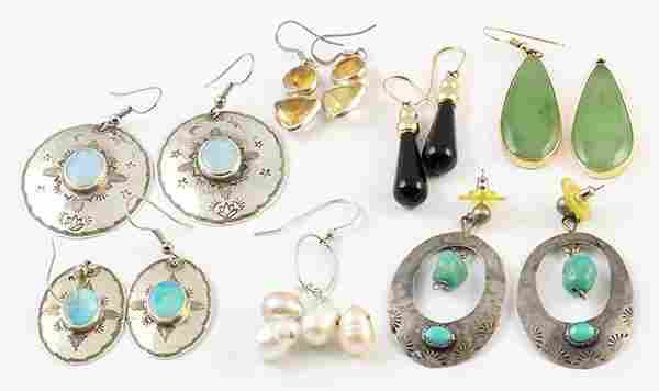 Collection of gem, silver and gold earrings