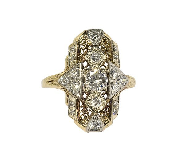 Art deco style diamond, yellow and white gold ring
