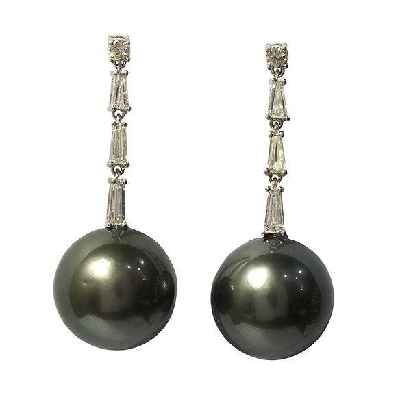 Pair of black South Sea cultured pearl and diamond drop