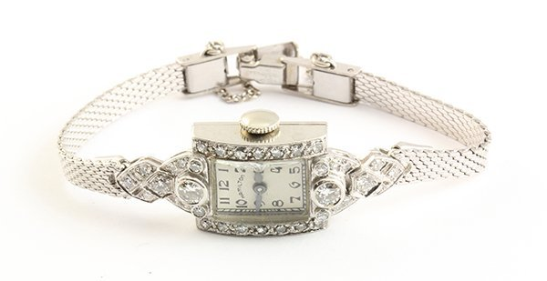 Lady's Hamilton diamond and platinum wristwatch