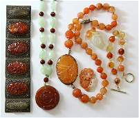 Collection of carved gem and bead jewelry