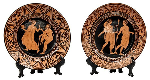 Naples Italian Giustiniani red pottery plates