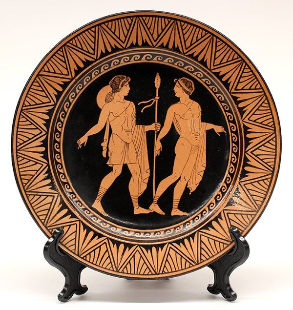 Naples Italian Giustiniani red pottery plates - 2