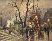 Painting Charles Vignon Parisian Street Scene