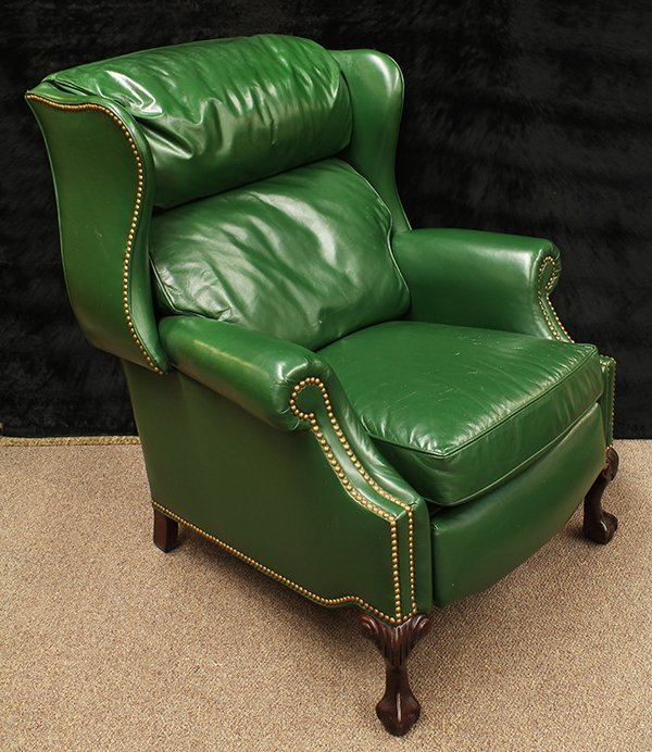 hancock and moore green leather wingback recliner