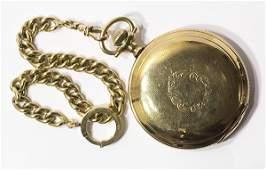 Waltham yellow gold hunting case pocket watch, circa