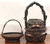 Japanese Ikebana Bamboo Baskets Meiji period