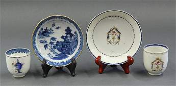 Four Chinese Tea CupsSaucers