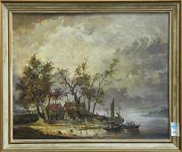 Painting, River Landscape with Figures and Boats