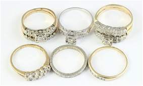 Collection of diamond and gold wedding rings