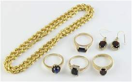 Collection of gemstone and 14k yellow gold jewelry
