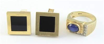 Collection of Gentlemans 14k yellow gold jewelry
