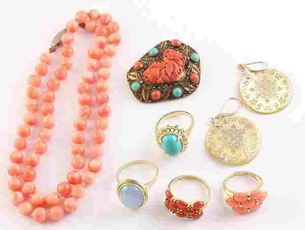 Collection of gem, yellow gold and silver jewelry