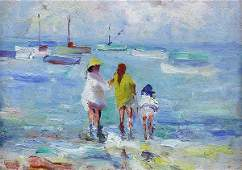 Painting, August Gay, Bathers and Boats, Monterey