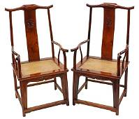 Two Chinese Huanghuali Official's Hat Armchairs