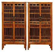 Two Chinese Lattice Panel Cabinets