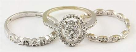 Collection of diamond and white gold rings