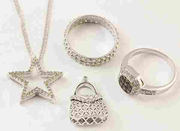 Collection of diamond and 14k white gold jewelry