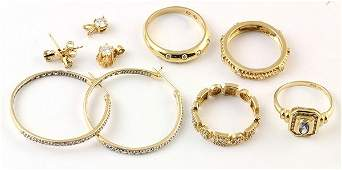 Collection of diamond cubic zirconia and yellow gold