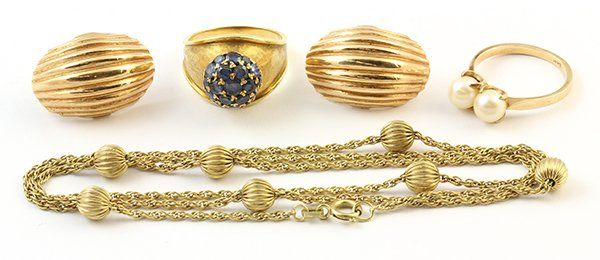 (lot of 4) Collection of gem and gold jewelry