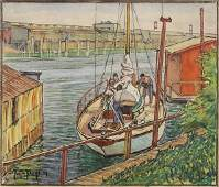 Watercolor, Justin Faivre, Making Fast, 1939