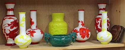 Chinese Peking style glass vase