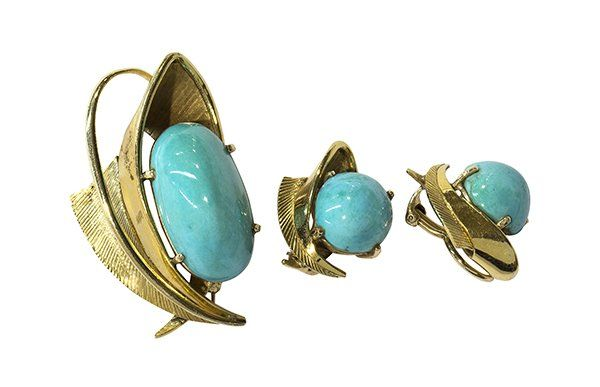 Retro turquoise brooch and clip earring suite