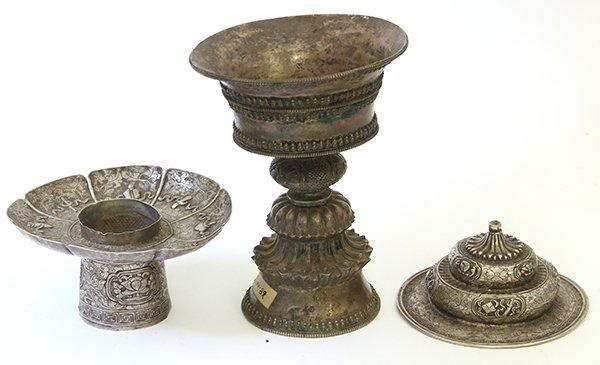 Three Asian Silvered Vessels