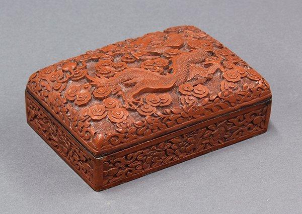 Chinese Cinnabar Rectangular Box