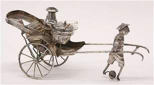 Chinese silver plate rickshaw condiment set