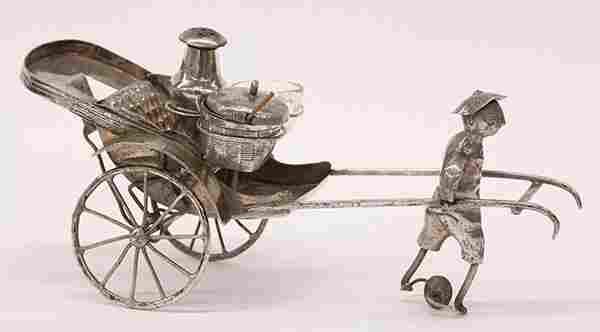 Chinese silver plate rickshaw condiment set