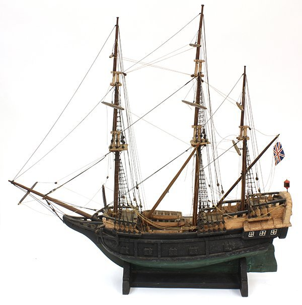 Paint decorated wood model ship of the Mayflower