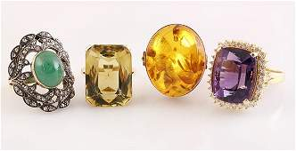 lot of 4 Collection of large gem and gold rings