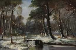 Painting, Alexandre Altmann, Winter Snow Scene with Bri