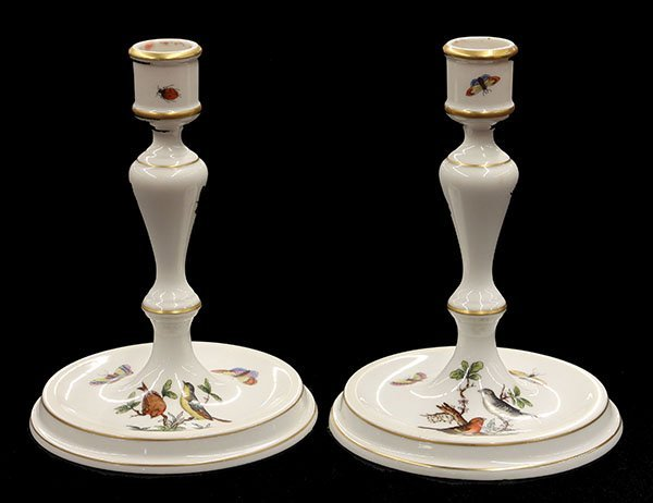 """Pair of Herend candlesticks in the """"Rothschild"""" pattern"""