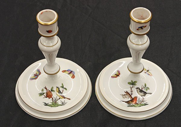 """Pair of Herend candlesticks in the """"Rothschild"""" pattern - 2"""