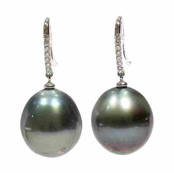 Pair of black South Sea cultured pearl diamond and 18k